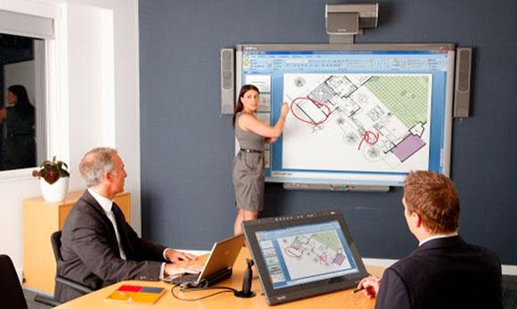 Использование интерактивной доски для демонстрации презентации и совместной работы во время совещаний